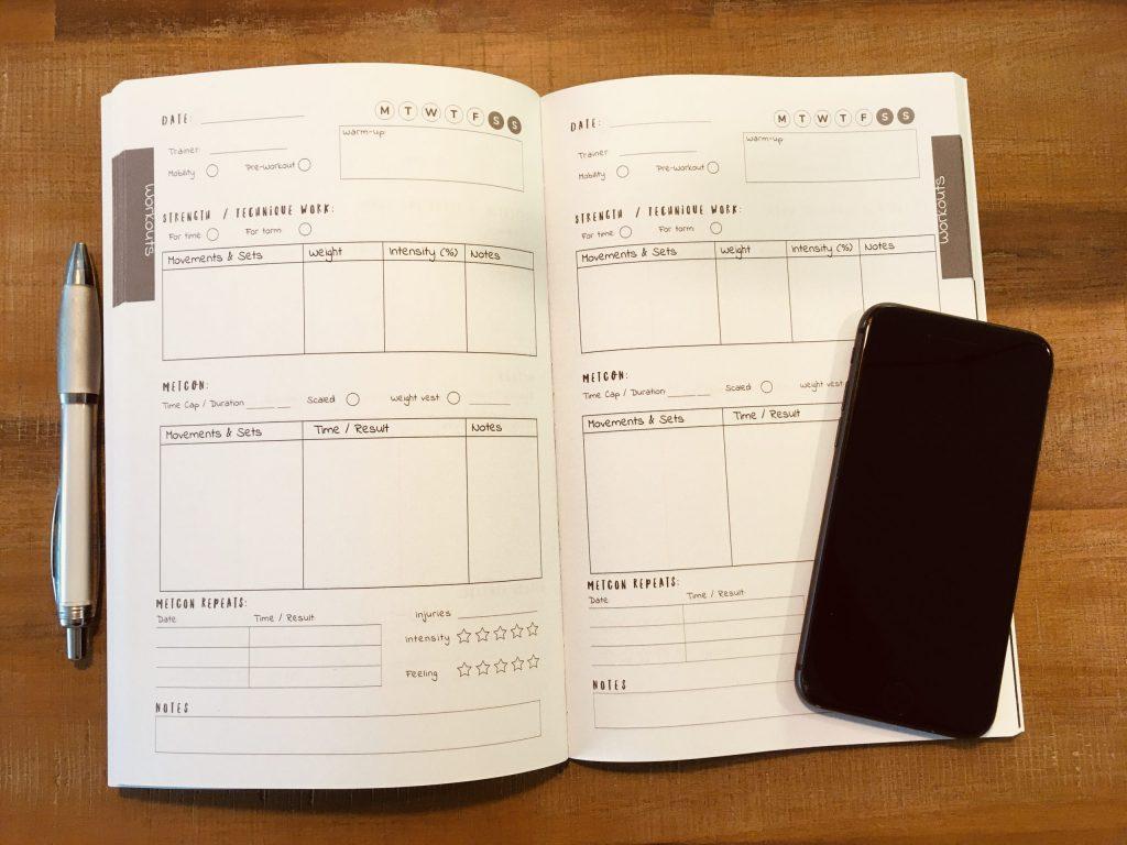 Mein selbst entwickeltes Workout Journal.